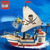 启蒙积木小颗粒拼装玩具拼插模型6-10岁儿童益智玩具海盗系列304