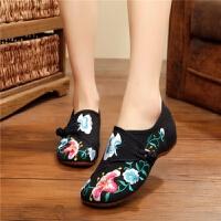 绣花鞋老北京布鞋女单鞋绣花鞋民族风内增高古装鞋子女坡跟百搭 小喇叭 黑色