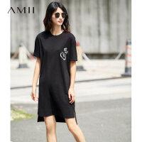 【AMII 超级品牌日】Amii[极简主义]2017夏装新品宽松棉弹落肩短袖印花连衣裙11721988
