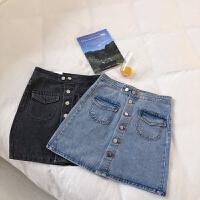 单排扣牛仔半身裙女夏季2019新款韩版时尚双口袋高腰A字裙短裙潮