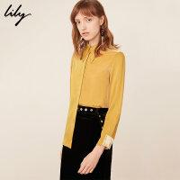 Lily春新款女装丝绒拼接chic宽松直筒衬衫119110C4218