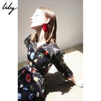 【6/4-6/8 一口价:219元】 Lily春女装荷叶边花型印花收腰七分袖连衣裙118400C7621