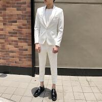 男士西服套�b�n版修身英���L西�b青年九分西��杉�套新郎�Y婚�Y服 白色