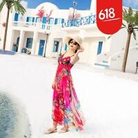 原创2018新款波西米亚连衣裙女夏沙滩裙吊带海边度假长裙 GH041 花色抹胸款