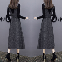 2018秋冬新款长款针织背带裙两件套修身过膝连衣裙女时尚套装裙子 深灰色