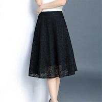蕾丝半身裙中长款a字裙春夏韩版百搭长裙高腰百褶裙子 黑色