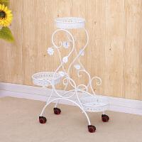 花架铁艺带轮的多层可推拉移动带轮客厅花盆架落地式绿萝吊兰子 白色 脚轮款