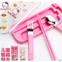 Hello Kitty卡通不锈钢勺子叉子筷子三件套 儿童餐具套装宝宝餐具