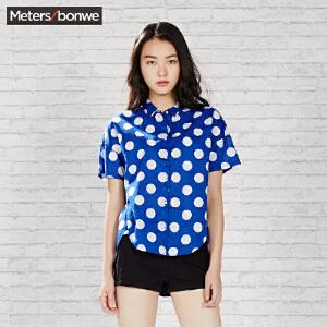 【每满100减50】美特斯邦威女短袖衬衫夏装女宽松短袖衬衫225531 庥