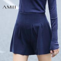 【满200减100 上不封顶】AMII[极简主义]女冬装新品纯色显瘦褶裥大码休闲短裤11643566