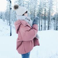 棉衣女短款2018新款冬季女装加厚外套连帽学生棉袄ins面包服 粉色 S