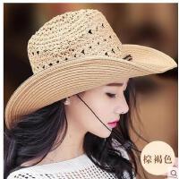 女帽子遮阳帽情侣沙滩帽男牛仔帽出游防晒可折叠大沿草帽