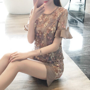 卡茗语 2017夏装新款女装小香风套装蕾丝上衣阔腿短裤夏季时尚两件套