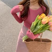 网红套装两件套法国小众女装初春chic糖果色百搭上衣+包臀半身裙