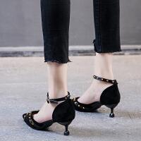一字带包头中空凉鞋女2019春季新款法式少女高跟鞋女细跟尖头单鞋夏季百搭鞋