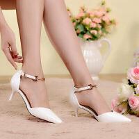 凉鞋女欧美新款尖头高跟鞋性感夜店细跟休闲一字扣带女鞋 燕燕5白色