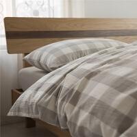 良品无印水洗棉四件套格子纯棉床上用品裸睡4件套床笠单