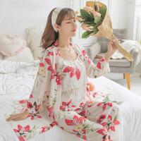孕妇睡衣夏季月子服纯棉三件套装薄款春秋纯棉产妇产后哺乳家居服