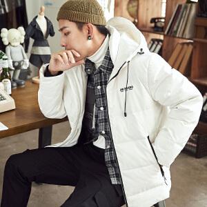 【2件3折价299.1元】唐狮冬季新款羽绒服男装短款连帽宽松学生潮流加厚外套黑色
