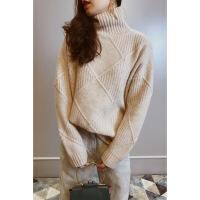 №【2019新款】冬天美女穿的高端定制立体菱格高领羊绒毛衣女宽松加厚纯山羊绒衫 均码