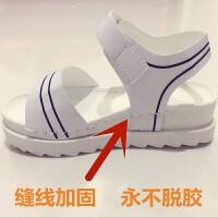 缝线凉鞋女学生韩版平底松糕厚底凉拖魔术贴露趾高初中生白色凉鞋