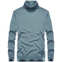 男士毛衣时尚纯色中高领针织羊毛外套秋冬新款微弹青年套头衫羊毛休闲打底衫