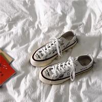 韩国ulzzang帆布鞋ins港味小众学生百搭涂鸦板鞋复古chic小白鞋女 白色