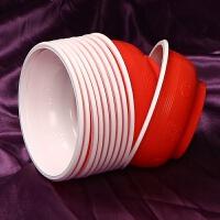 婚庆一次性碗筷 结婚一次性碗筷餐具一次性塑料碗无盖红色婚庆圆形家用加厚 红色 (30只/件)
