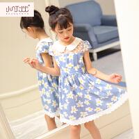 女童短袖连衣裙3-4-5-6-7岁裙子2017夏季新款韩版儿童印花公主裙