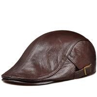 冬季款保暖男士真皮贝雷帽薄款女士帽鸭舌帽前进帽子潮男