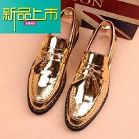 新品上市男鞋夏季潮鞋韩版皮鞋男士亮面漆皮型师青年商务正装休闲豆豆鞋