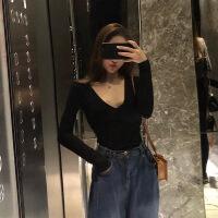 黑色针织打底衫女长袖性感紧身薄t恤修身低胸v领上衣秋装2018新款 均码