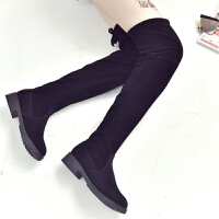 秋冬新款平底粗跟靴子长筒靴女鞋弹力过膝靴高筒靴长靴瘦瘦靴