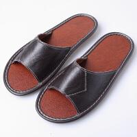 当当优品 男女家居拖鞋 牛皮拖鞋 天然橡胶底凉拖鞋 室内防滑地板拖鞋T1604 男款深棕色27码(适合39-40码)