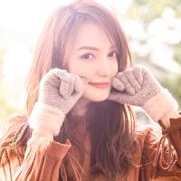 手套女冬季保暖加绒触屏可爱学生针织仿羊绒毛线五指开车