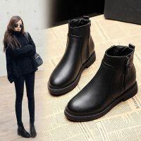 秋冬中跟女短靴粗跟单靴女英伦风马丁靴加绒短筒平底靴子