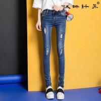 新款女装牛仔裤小脚裤潮流显瘦韩版百搭中腰弹力裤WM6115