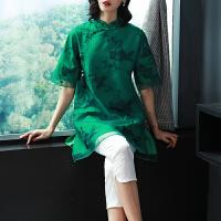 魅儿2018年夏季新款复古女装 立领绣花宽松改良旗袍刺绣短袖上衣GH154 绿色 3天内发货