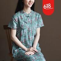 夏装新款天丝苎麻复古中式大码文艺短袖连衣裙长裙森女GH07301 复古绿小人儿图案