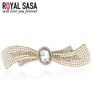皇家莎莎RoyalSaSa头饰韩国合金人造水晶发夹弹簧夹时尚饰品发卡子蝴蝶结马尾夹