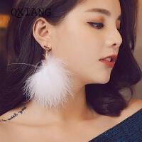 气质毛绒耳环时尚个性毛球人造珍珠耳钉耳坠耳饰