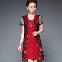 中老年女装春夏装婚礼妈妈装宽松大码刺绣网纱两件套装连衣裙 2X