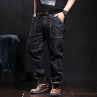 工装牛仔裤男宽松直筒男士多口袋耐磨高弹力弹性胖子大码裤子秋季 黑色