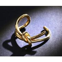 简约时尚手饰品可调节大小 日韩食指环戒子打结开口戒指女镀彩金色