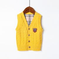全织时代童装男童毛衣背心马甲v领英伦风儿童纯棉无袖针织衫开衫