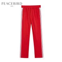 太平鸟男装 春季新款红色长裤校服裤红白拼色潮休闲裤BWGB81608