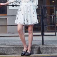 【街拍】海贝2017年秋季新款女装 高腰印花网纱双层修身半身裙素雅A字短裙