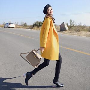 谜秀 ulzzang毛呢外套短外套韩版小个子茧型呢子大衣秋冬季