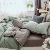 床上四件套水洗棉双拼纯色全棉纯棉床单春季简约北欧风 2.0m床【适合220x240被芯】 床单式套件
