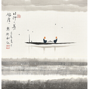 当代著名画家陈秋50 X 50CM人物画gr01265
